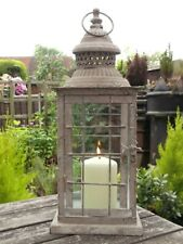 NEW Large Antique French Grey Vintage Style Garden Lantern Candle Holder Rustic