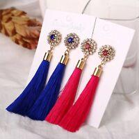 1 Pair Fashion Women Rhinestone Ear Stud Dangle Drop Long Fringe Tassel Earrings