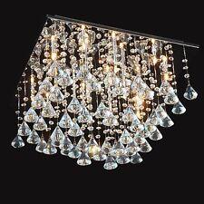 Chrome Floating Glass Rain Drop Ceiling Chandelier Light Crystal Clear Decor New