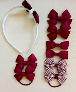 Handmade School Colour Hair Bow Clips Bobbles burgundy Headband 9 pieces