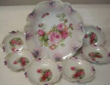 New listing Antique Germany Large Hand Painted Bowl 6 Sauce Dishes