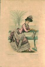 Gravure ancienne 1883 l'art et la mode dessin de Mlle M. de Solar issue du livre