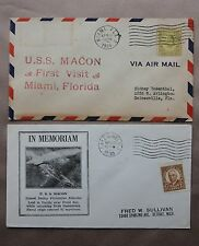 2x USS Macon postal cover - First Visit Miami Florida & In Memoriam Airship 1934