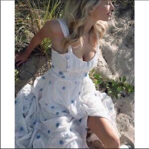 FREE PEOPLE Daisy Chain Embroidered Polka Dot White Midi Maxi Dress Sz XS NWT
