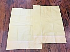 2 Vintage Yellow Pillowcases Twin Standard Size Hand Made Polka Dot
