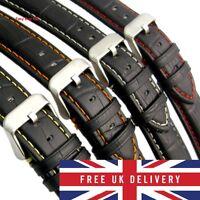 Premier Alligator Grain Watch Strap Padded Colour Stitched Black Calf Leather