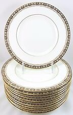 FULL SET 12 ANTIQUE MINTON CHINA H4241 LUNCHEON PLATE BLACK GOLD LAUREL WHITE