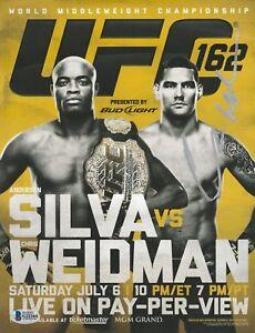 CHRIS WEIDMAN SIGNED AUTO'D MINI POSTER BAS COA UFC 162 CHAMP VS ANDERSON SILVA