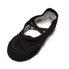 Kids Girls Lady Yoga Ballet Dance Shoes Canvas Leather Sole Soft Elegant Child