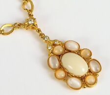 VINTAGE DESIGNER SIGNED KIRKS FOLLY NECKLACE & PENDANT GOLD TONE FLASHY JELLY !