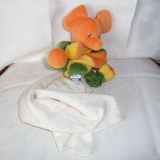 Doudou Eléphant Sucre d'Orge - Orange Vert