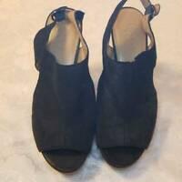 Franco Sarto Womens Gabriel Sandals Black Wedge Heels Peep Toe Leather 9.5 M