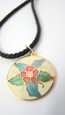 Cloisonne Round Flower Pendant Necklace Pink Green Leaves Black Silk Cord