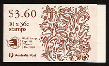 Australia Christmas 89 Stamp Booklet Scott # 1159a With World Stamp Expo 1989 OP