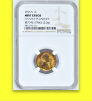 1955-S NGC MS60 ☗ Struck on SPLIT Planchet █ UNIQUE ✭EPIC✭ Lincoln Wheat Cent 1C