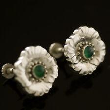 Georg Jensen Silver Ear Screws w/ Green Agate - #49 - VINTAGE