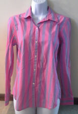 (NWOT) Chaps Classic Junior's Size Small Bright Pink & Blue Striped Long Sleeve