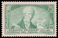 France #301 MNH CV$47.50 1935 75c Benjamin Delessert [STOCK IMAGE]