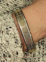 24k GOLD Greek Key Bangle Greek Jewelry ETERNITY Bracelet SIILVER women HANDMADE