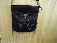LADIES FASHION FAUX SOFT LEATHER METAL SKULL CHAIN CROSS BODY HANDBAG FREE UKP&P
