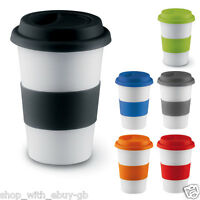 TAKEAWAY CERAMIC SILICONE TRAVEL MUG TAKE AWAY COFFEE MUG CUP + SILICONE SLEEVE