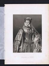 Elisabeth von Valois of France - Friedrich Schiller 1883 Steel Engraving