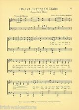 "UNIVERSITY OF IDAHO Vintage Song Sheet c1927 ""Oh, Let us Sing of Idaho"" Original"
