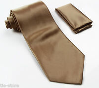 MEN GOLD CLASSIC MATCHING TIE SET 2 PIECE POCKET SQUARE HANKY & FORMAL NECK TIE