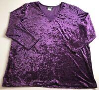 VTG More Jazz Women's Long Sleeve Blouse Top 20W Plus Purple Crushed Velvet