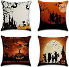 Halloween Fall Decorative Throw Pillow Covers 18x18 Set of 4 Linen Pillow Case