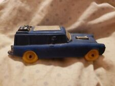 Vintage Auburn Rubber Toy CAR BLUE with Yellow Wheels