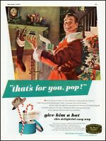 1947 Dad Santa Claus Christmas men's Hat gifts vintage art print Ad adL54