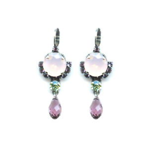 Mariana Earrings Gorgeous Pink Opal, Chrysolite & Amethyst Austrian Crystals ...