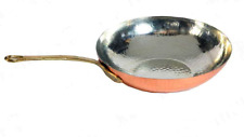 Pan Wok Copper Chef Cooking Wok with Handle Brass Professional 28