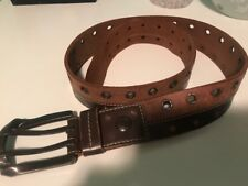 Marc Ecko Mens Brown Leather Belt W Studs-81056 Medium size Great Quality!