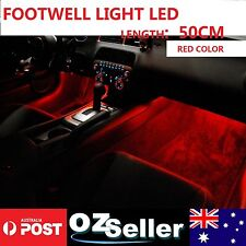 2x Auto Interior Footwell Area LED Strip Lighting Decal, Length=50CM. Red Color
