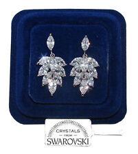Orecchini da donna pl oro bianco 18K zirconi cristalli swarovski SW8 foglia