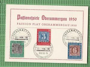 BUND-Mich. 113/115 auf Karte, mit Stempel Passion Spiele Oberammergau 1950(B858)