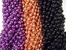 36 Mardi Gras Beads Party Favors Halloween Necklace Purple Orange Black 3 doz