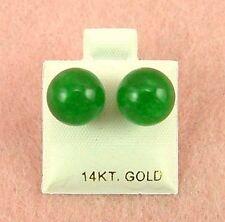 14K Yellow Gold - 9mm Green Jade Ball Stud Earrings (GE313)