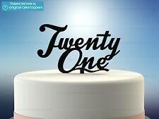 """Twenty One"" - Black - 21st Birthday Cake Topper - Made by OriginalCakeToppers"