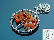 Handmade Red Agate Tree of Life Natural Gemstone Pendant Necklace 50cm Chakra