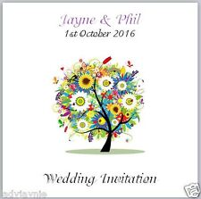 Pack of 10 Wedding Invites - Colour Burst Tree - Personalised with Envelopes!