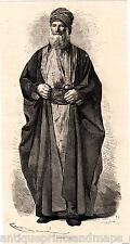 Antique print portrait jewish man jew Babylonia 1869