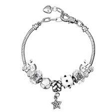 NEW MC Silver White Enamel Star Baby Carriage Murano Beads Charm European Bracel
