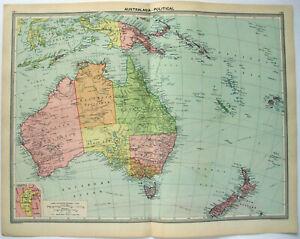 Original 1926 Map of Australasia by George Philip. Australia NZ Fiji Vintage