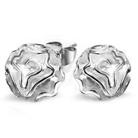 Elegant Women Rose Flower 925 Sterling Silver Plated Ear Stud Earring Jewelry