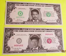 2 Different Vintage 1997 & 1999 Al Gore Novelty 99¢ Dollar Bill