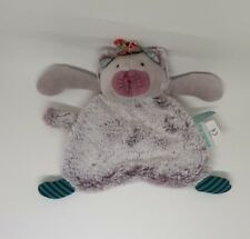 DOUDOU PELUCHE PLAT CHAT PACHATS MOULIN ROTY FOURRURE GRIS VERT NEUF
