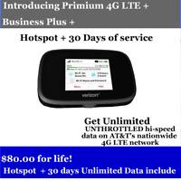 ATT Hotspot UNLIMITED Data Plan 4G LTE Include  Hotspot $80/Month